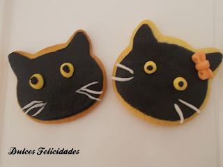 Galletas gato negro halloween fondant