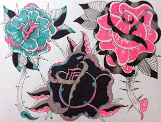 Tattoo, cincinnati art, cincinnati, bird tattoo, girl tattoo, rose, rose tattoo, rose tattoo flash