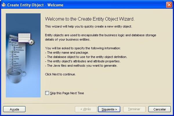 asistente creacion entity