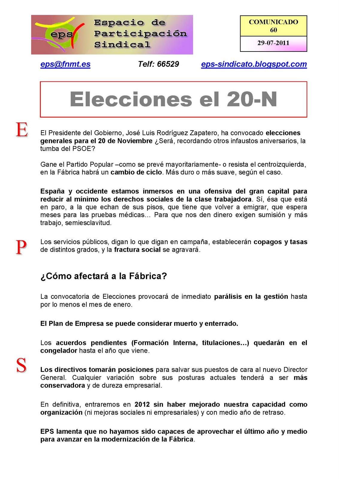 Espacio de Participación Sindical: 2011