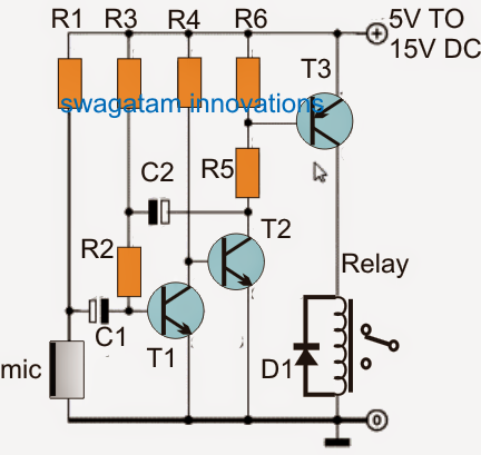 Simplest Sound Activated Relay Switch Circuit