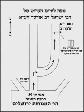 מפה להגיע לציון הקדוש של סבא ישראל