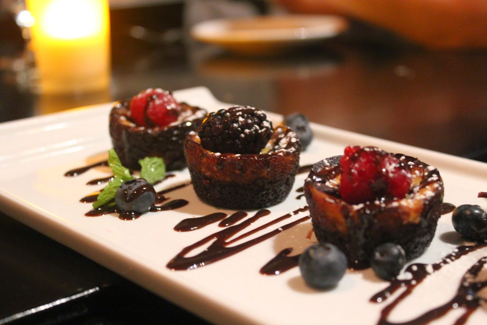 Mini black-bottom cheesecakes at Orta, Pembroke, Mass.