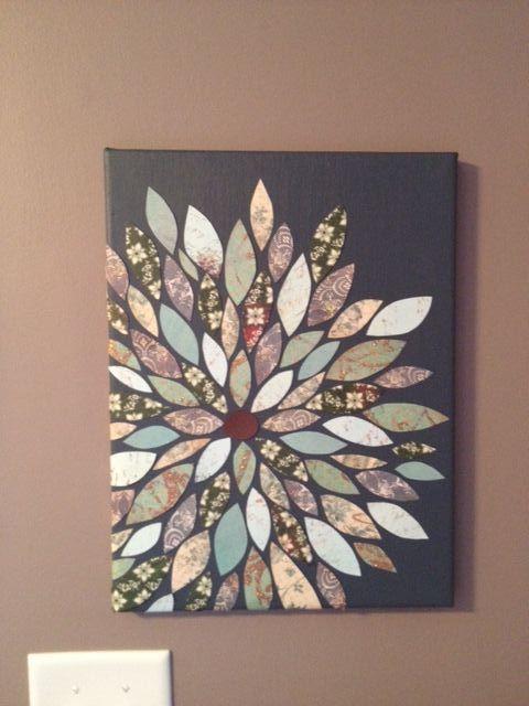Diy Wall Decor Using Scrapbook Paper : Scrapbook paper flower wall art