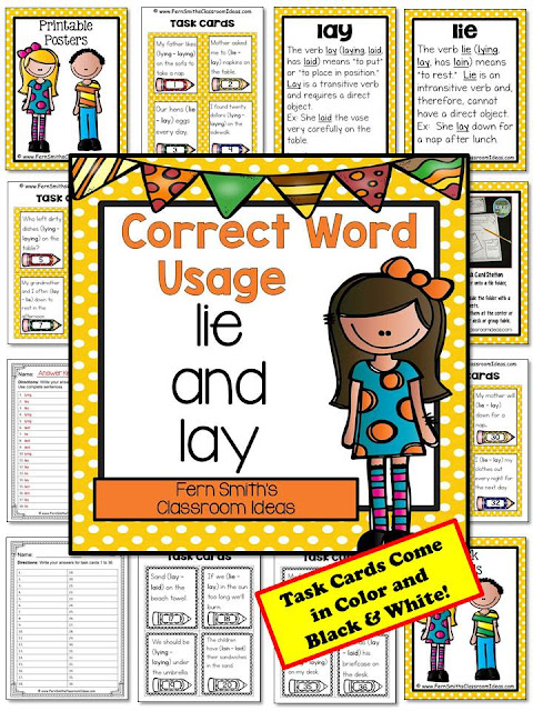 Fern Smith's Classroom Ideas Correct Word Usage Task Cards - Lie and Lay at TeacherspayTeachers.