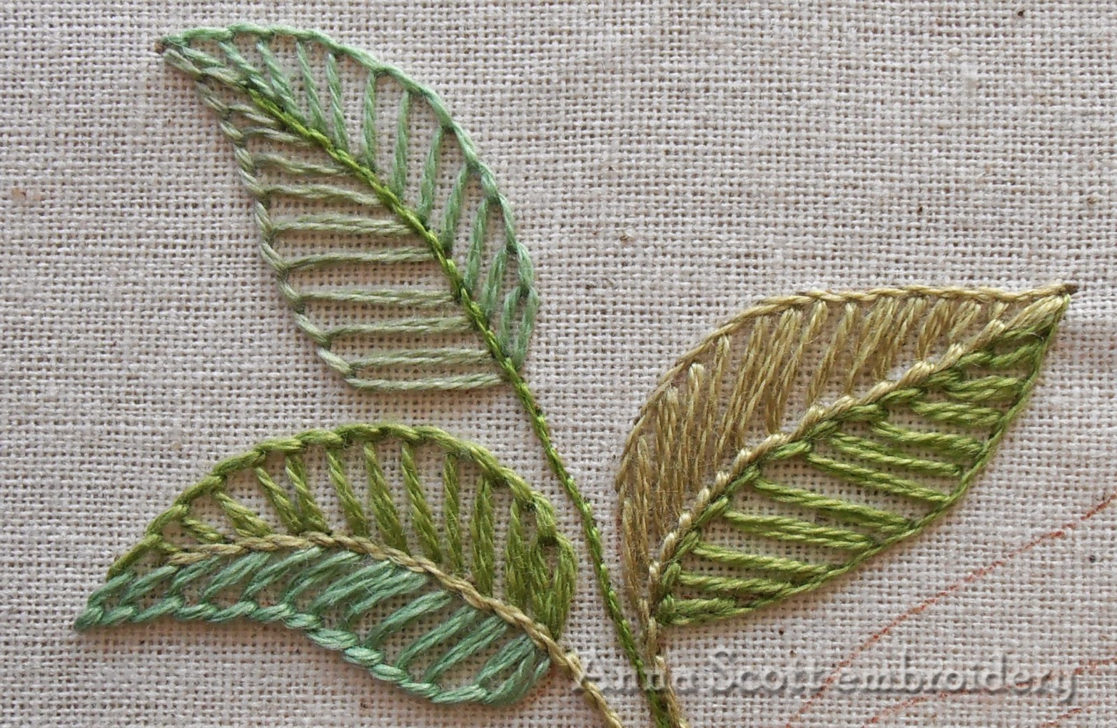 Anna scott blanket stitch leaves part two