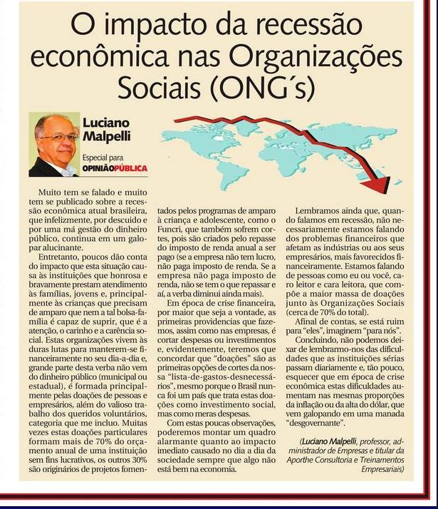 O impacto da recessão econômica nas Organizações Sociais (ONG's).