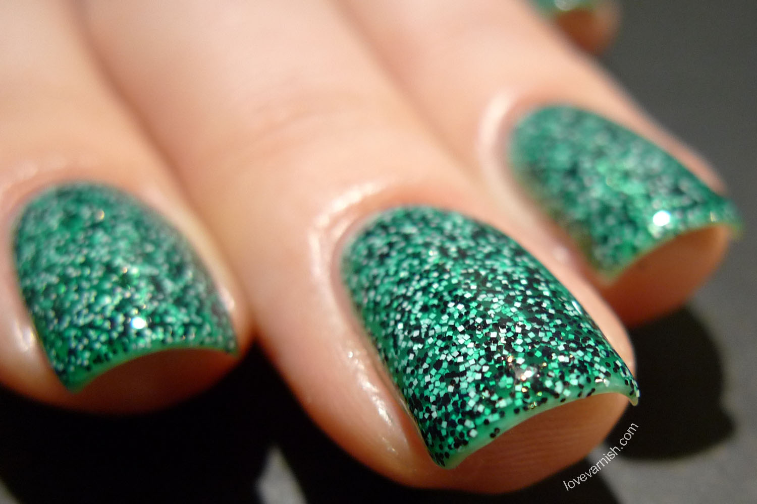Dance Legend Caviar Polish Tetraodon green teal black white glitter
