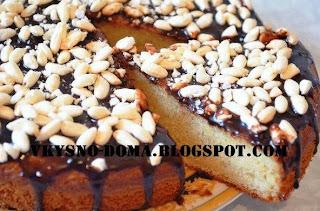Простой творожный пирог с глазурью