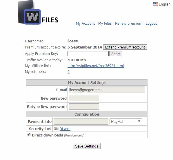 free Wipfile premium account