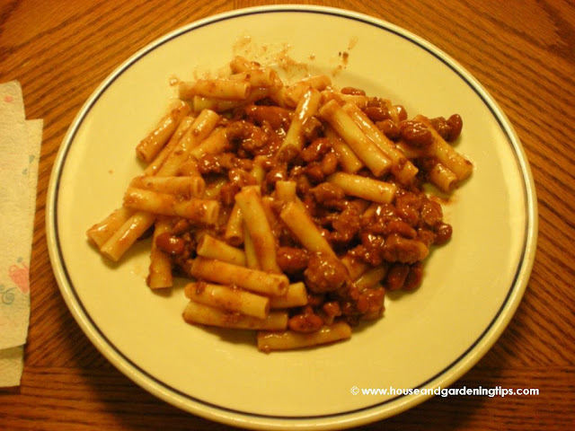 Mix canned chili in with your favorite pasta to make a delicious Southwestern style pasta dish.  Pictured here is Southwestern Ziti.