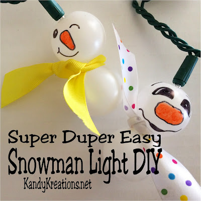 Make fun and super easy Snowman lights for your Snowman party using this simple DIY tutorial. Using ping pong balls, a string of lights, sharpies, x-acto knife, glue gun, and ribbon scraps you can make fun Snowman lights with personality and very little expense.