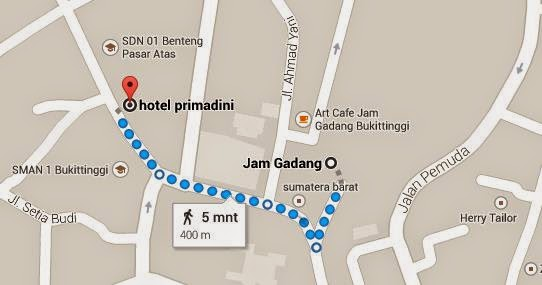 Jarak Hotel Primadini ke Jam Gadang Bukittinggi