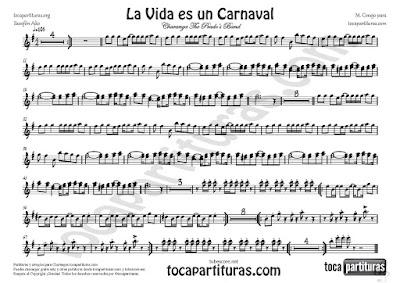 La Vida es un Carnaval Partitura de Saxofón Alto en Mi bemol de Celia Cruz Sheet Music for Alto Saxophone in Eb