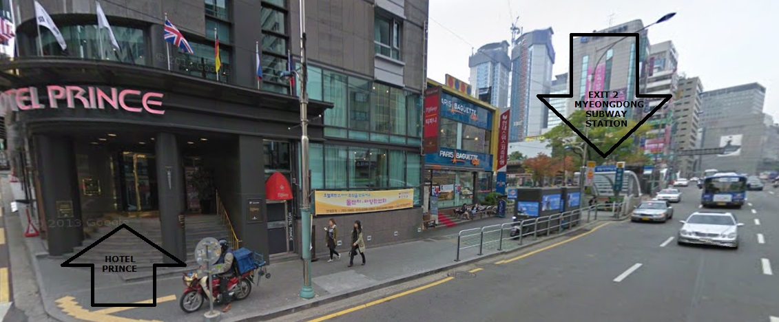 The Bus Stop For Shuttle To Everland Is Located At Exit 2 Myeongdong Subway Station In Front Of Hotel Prince As Shown By Arrows