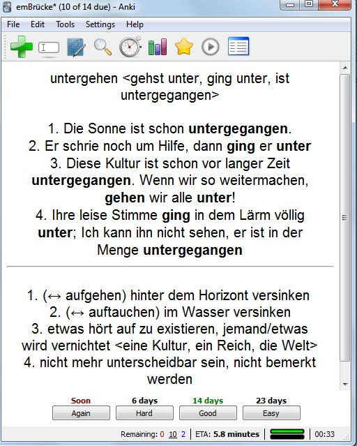 and of course i try to make so that the explanation is also in german to learn the language as naturally as possible for a non native