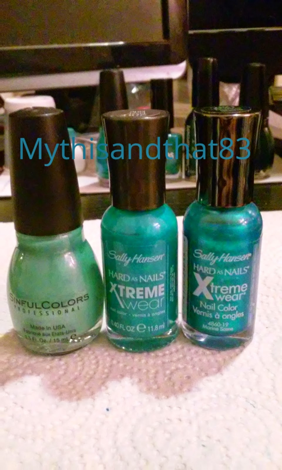 Sinful Colors Mint Apple, Sally Hansen Jazzy Jade, Sally Hansen Marine Scene