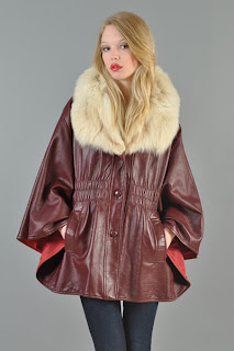Vintage 1970's red leather cape with ivory colored fox fur collar