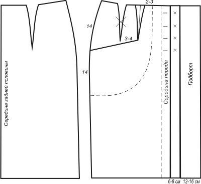 Отдельно переснять на кальку выкройку переда юбки и выкройку спинку юбки