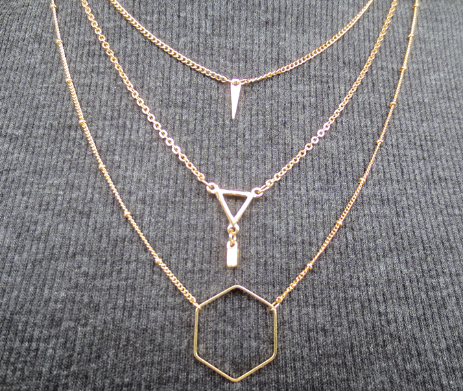 Happiness Boutique layered geometric necklace statement