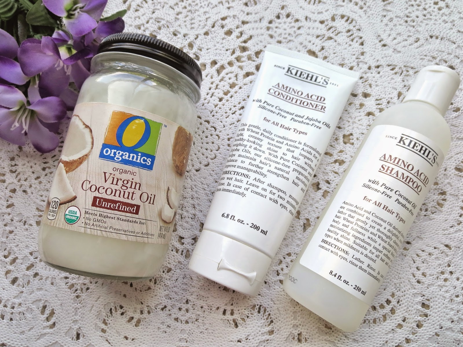 a picture of Coconut Oil, Kiehl's Amino Acid Shampoo & Conditionner