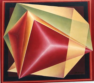 Arte geometria abstrata -Técnica mista s/tela-arte geométrica-artista plástica  Elma Carneiro