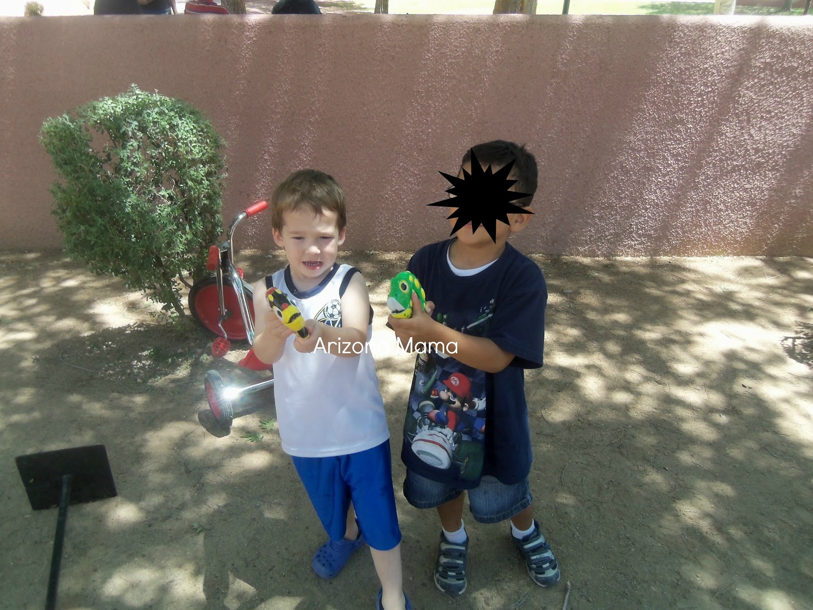 They had these fun frog, bee, and lady bug squirters. Jayden kept
