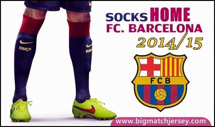 Kaos Kaki Bola Grade Original Replika Thailand Socks FC Barcelona Home Official 2014-15