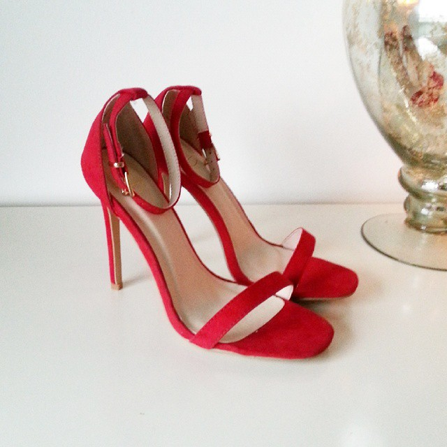 Missguided Clara suede strappy high heeled sandals in red - glamorousgia