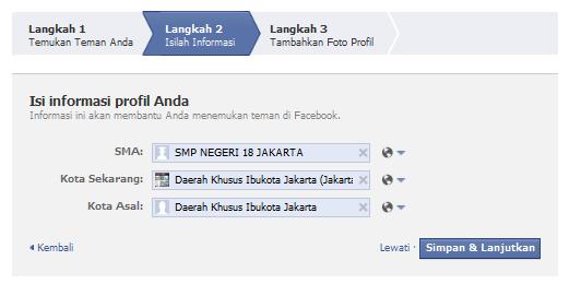 Masukkan data profil anda ke facebook