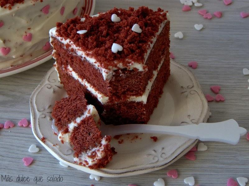 M s dulce que salado red velvet cake tarta terciopelo - Tarta red velvet alma obregon ...