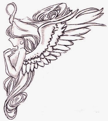 Cute angel tattoo stencil
