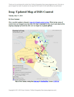 Map of territorial control in Iraq in May 2014, including cities and countryside held by the Islamic State of Iraq and al-Sham (ISIS, ISIL) as well as areas administered by the Kurdistan Region. Includes detail of towns in flashpoint provinces of Anbar and Diyala