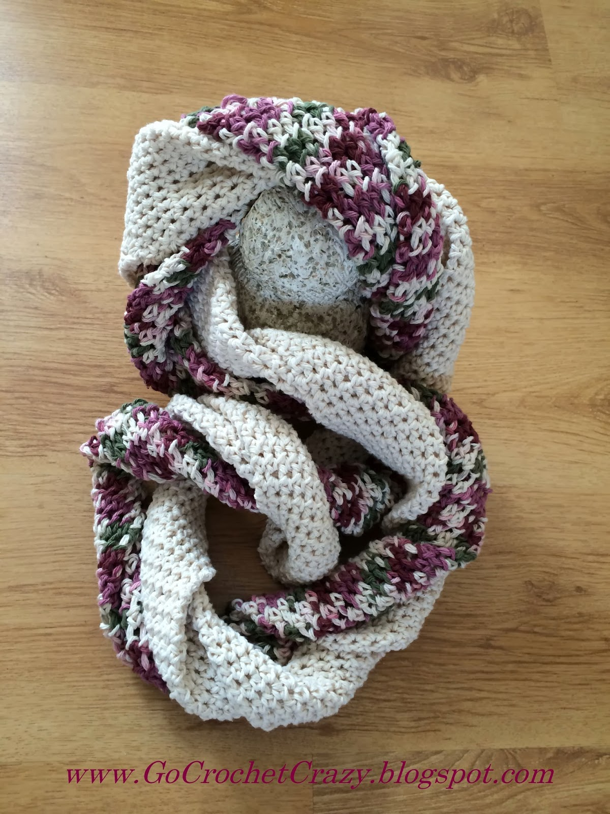 Go Crochet Crazy's Twisted Infinity Scarf, pattern available soon in an upcoming pattern eBook.