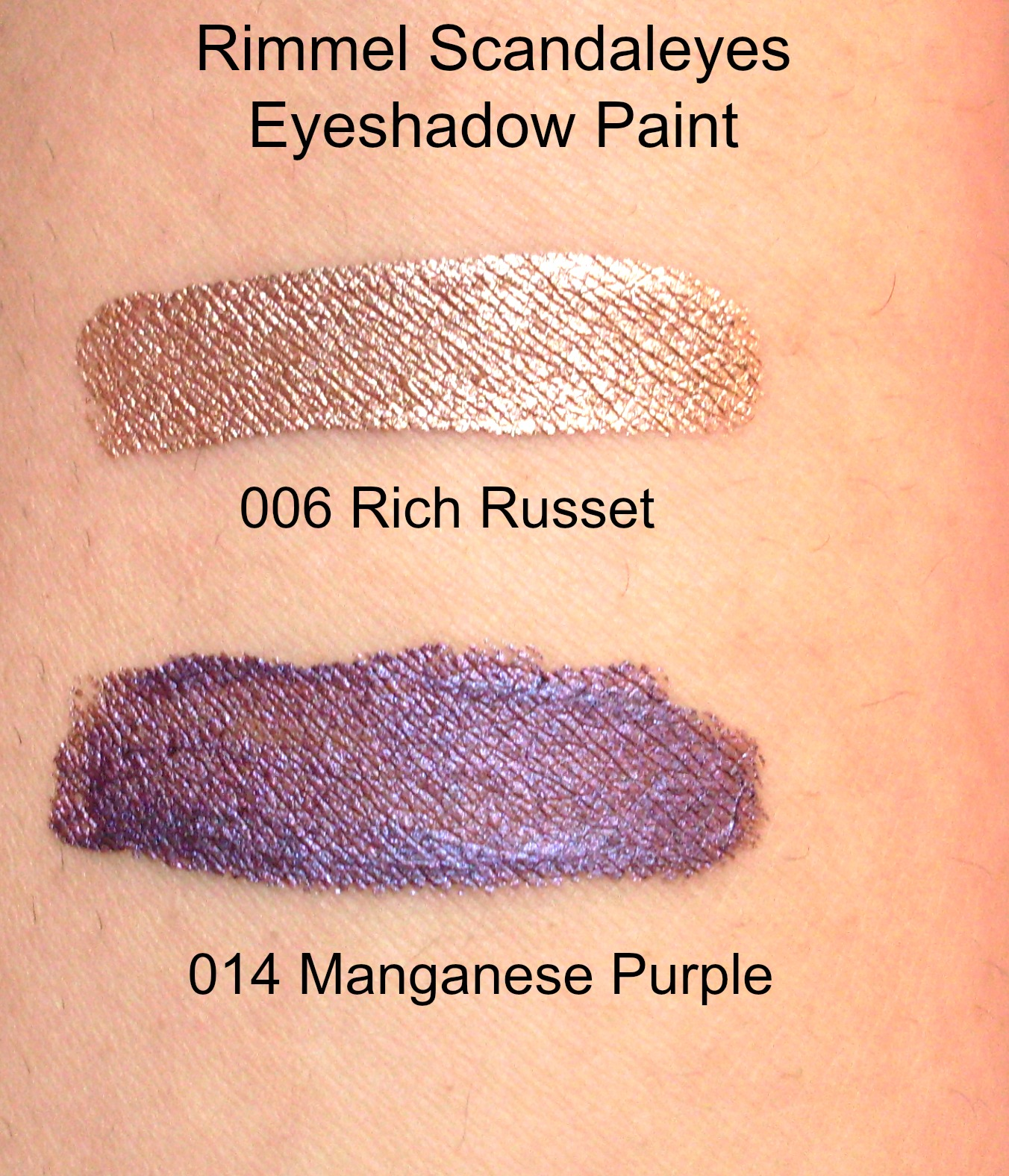Swatches of Rimmel Scandaleyes Eyeshadow Paint in 006 Rich Russet and 014 Manganese Purple
