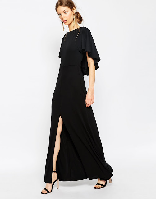 black cape maxi dress,