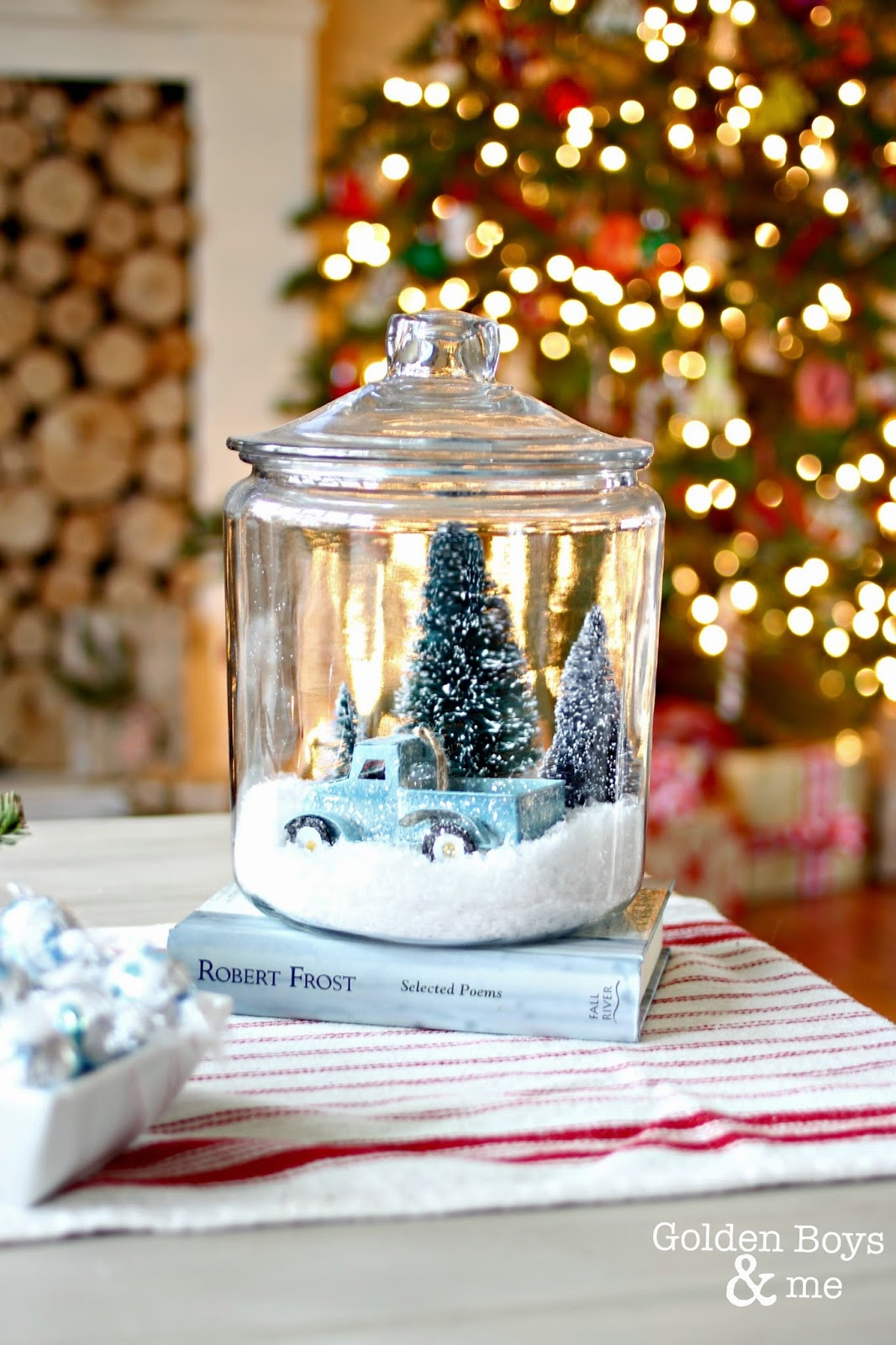 DIY snow globe made with trees and truck ornament-www.goldenboysandme.com