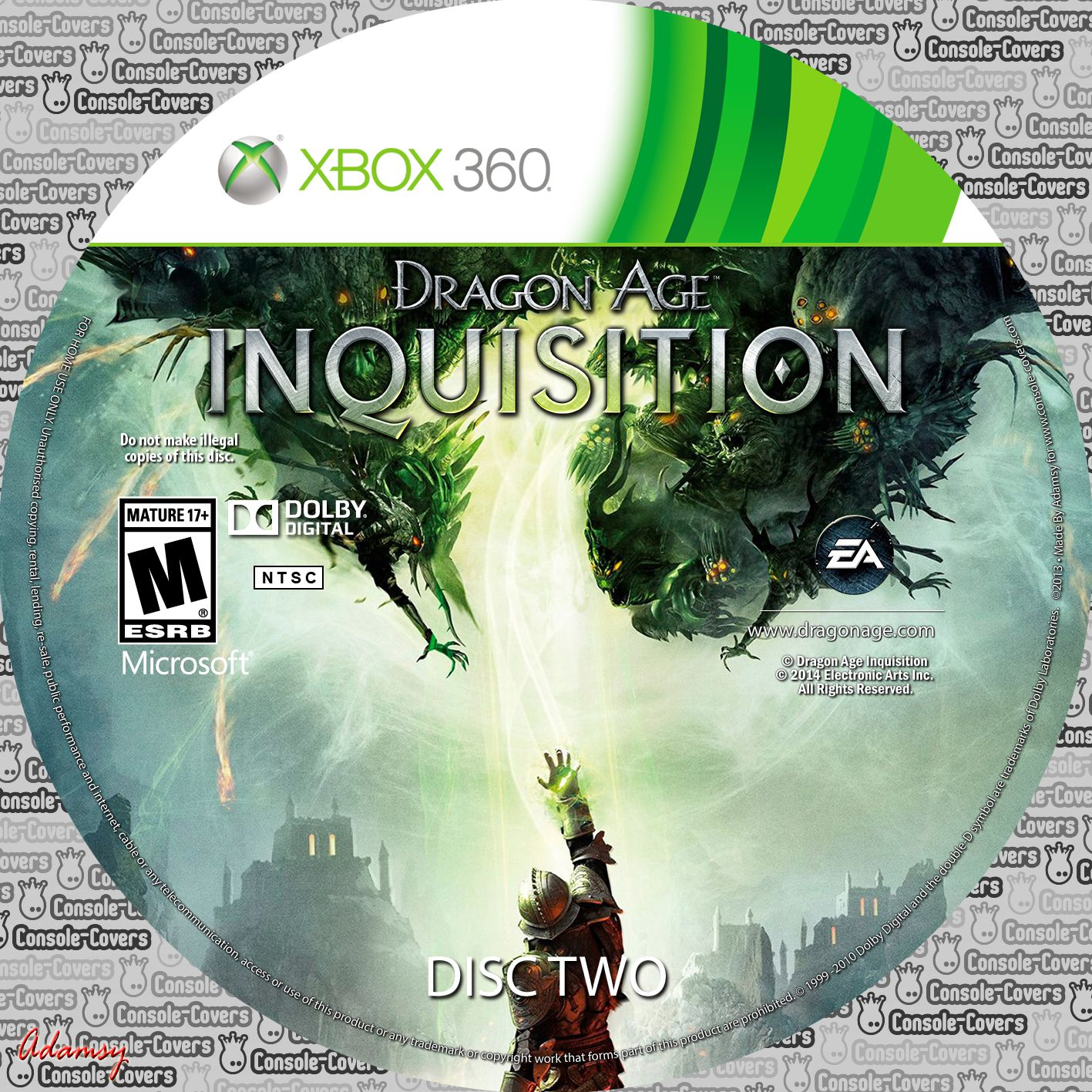 Label Dragon Age Inquisition Disc Two Xbox 360
