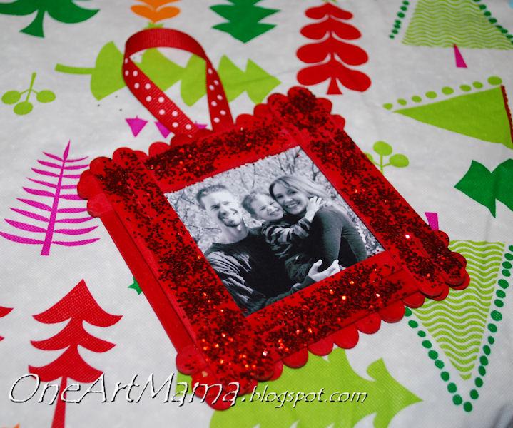 Sparkly frame ornament amy latta creations for Photo frame ornament craft