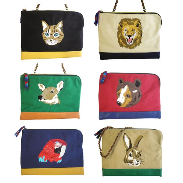 アニマル刺繍の2wayバッグ