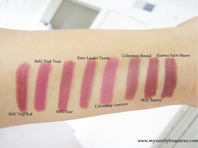 colourpop bound swatches, mac whirl dupe, mac soar dupes, colourpop lumiere, mac half red swatch, essence satin mauve swatch, mac beurre swatch, mac beurre dupe