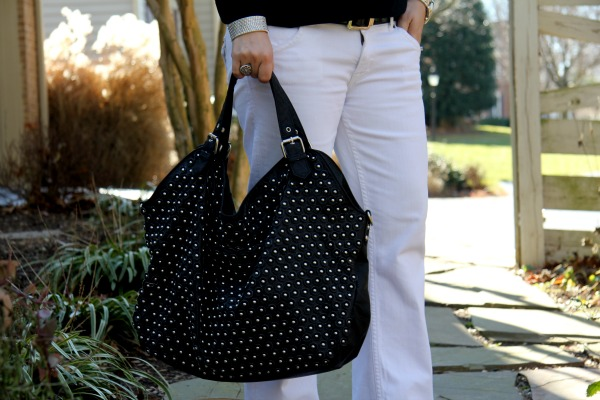 Hudson Signature White Jeans, Black Studded Bag from TJ Maxx