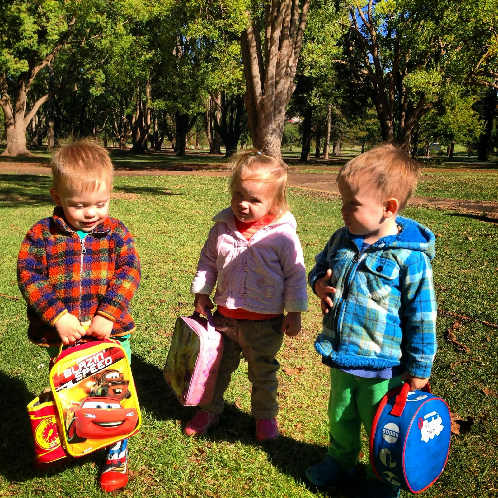 Two Year Old Triplets Routine going to a park