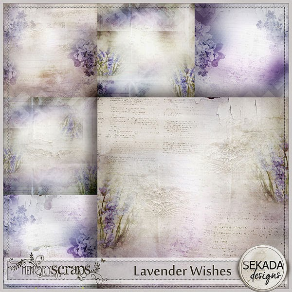 "The kit ""Lavender Wishes"" is about lavender time, sun, love and friendship. The set includes: 41 elements, 12 papers, 4WA, 6 wordtags"