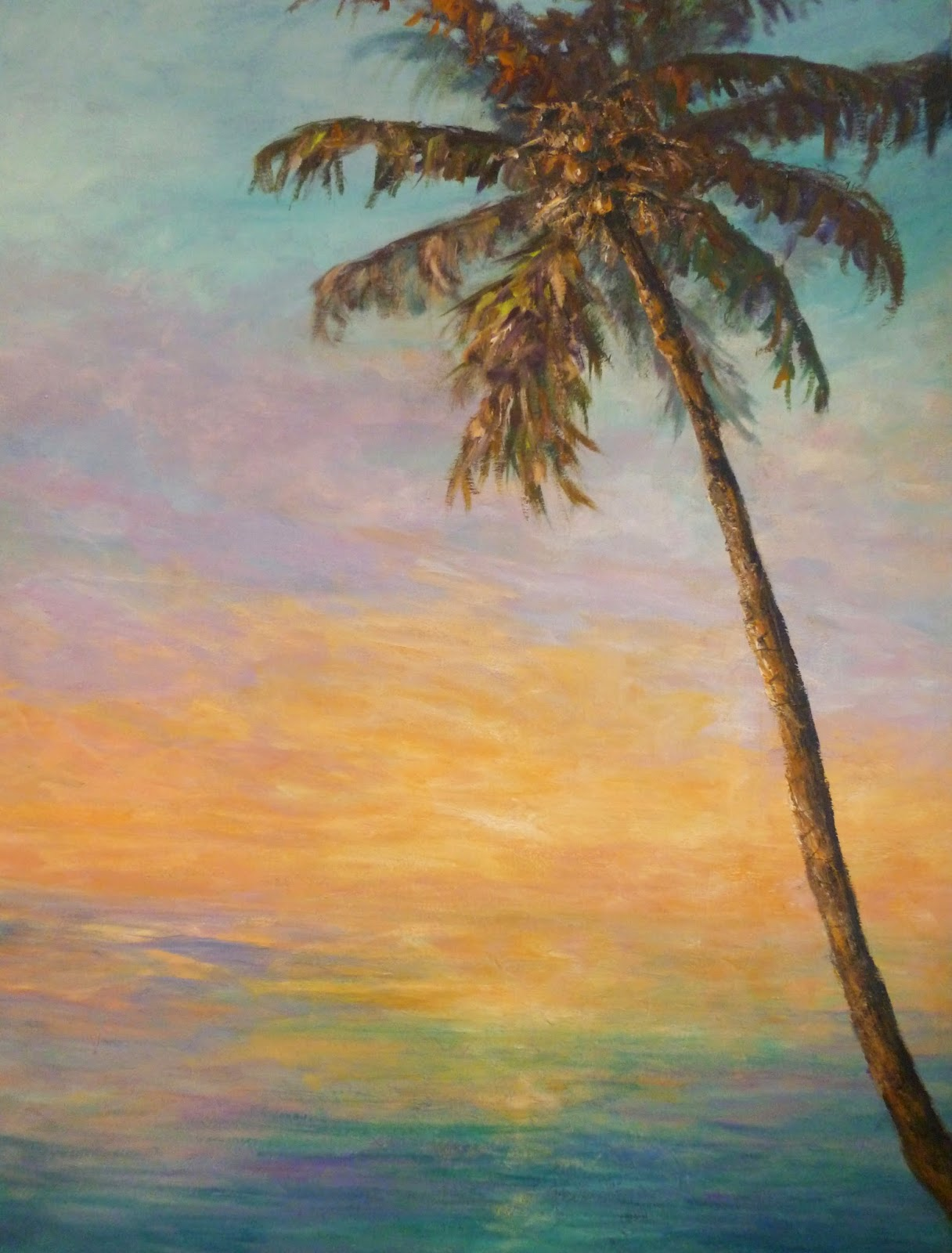 Painting of a palm tree with colorful sunset