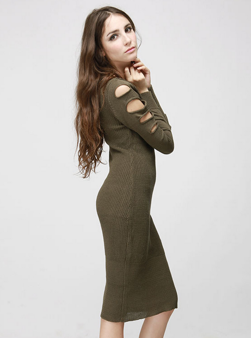 Cable Knit Dress with Cut-Out Sleeve
