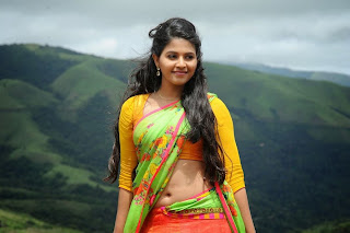 Anjali in Orange Saree with Green Pallu and Yellow Blouse Spicy Pics from Geetanjali movie