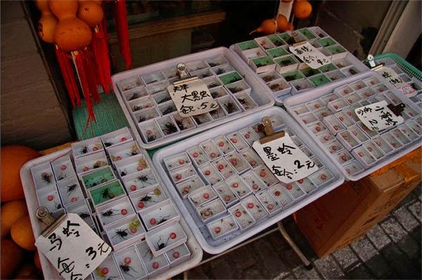 Продажа сверчков на рынке в Китае