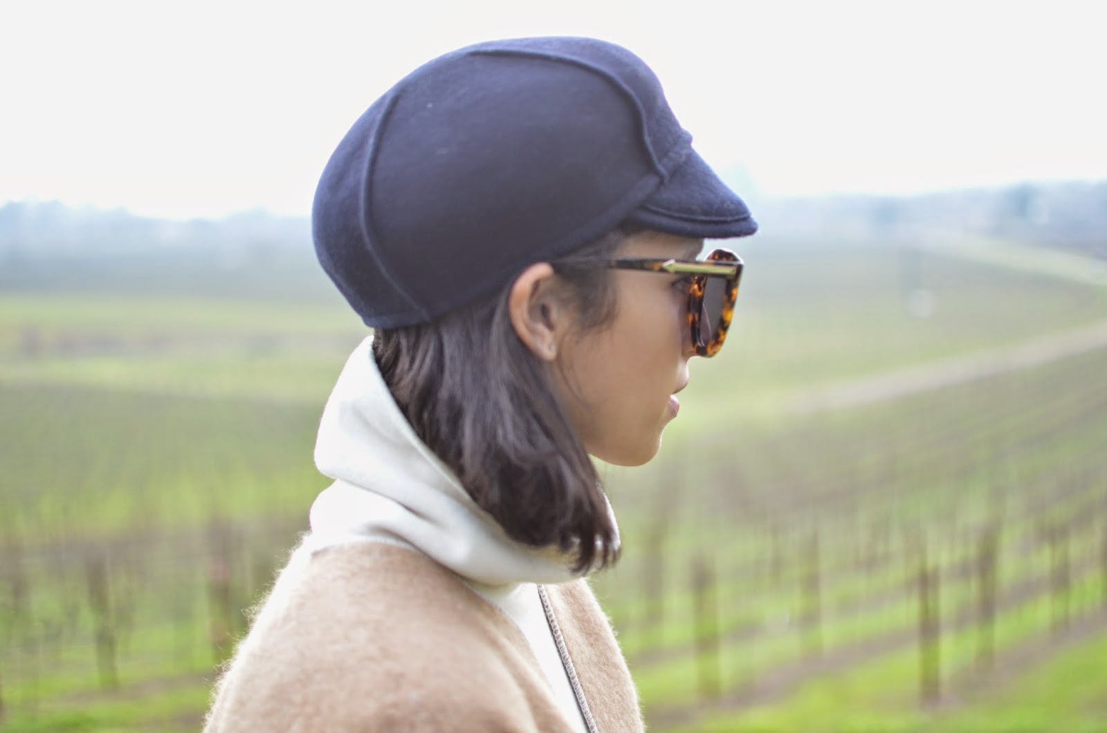 wine country chic, french girl hat, karen walker super sunglasses, short haircut, lob haircut