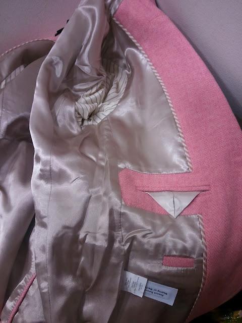 J. Crew Schoolboy Blazer in Wool Herringbone in Romance Pink